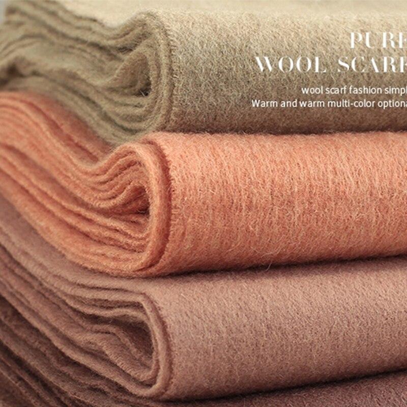100% Wool Scarf 2018 Luxury Winter Blanket Scarf Shawls Women Thicken Warm Scarves Wool Wrap Pashmina Tassel Solid Color Scarf