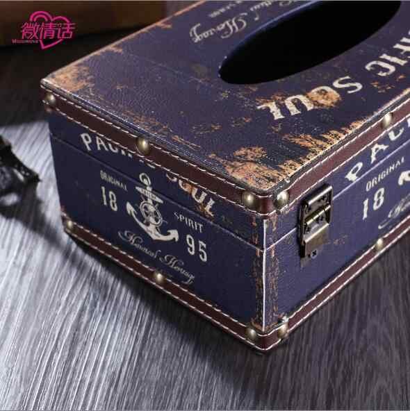 Деревянная кожаная коробка для платочков лоток откачка креативный домашний Европейский Американский стиль ретро ресторан коробка для салфеток перекачивающая бумага коробка для автомобиля
