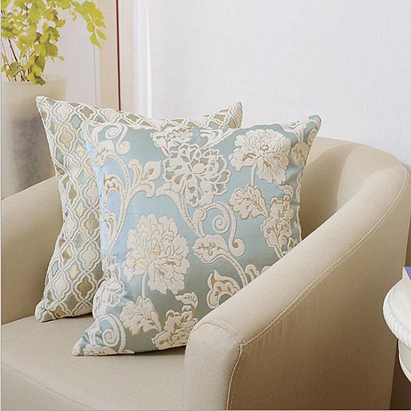 Luxurious European Chenille Jacquard Pillow Cover Home Decor Geometric Cushion Cover Decoration Pillowcase Decorative Pillowsham