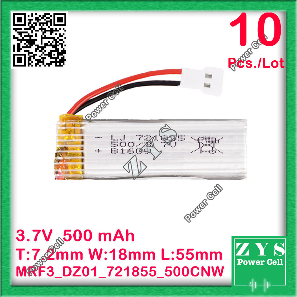 10 pcs./Lot Safety Packing, 3.7V lithium Polymer <font><b>battery</b></font> <font><b>721855</b></font> 500mah for UAV UAS Drone Zone mini drone fpv Size7.2x18x55mm image