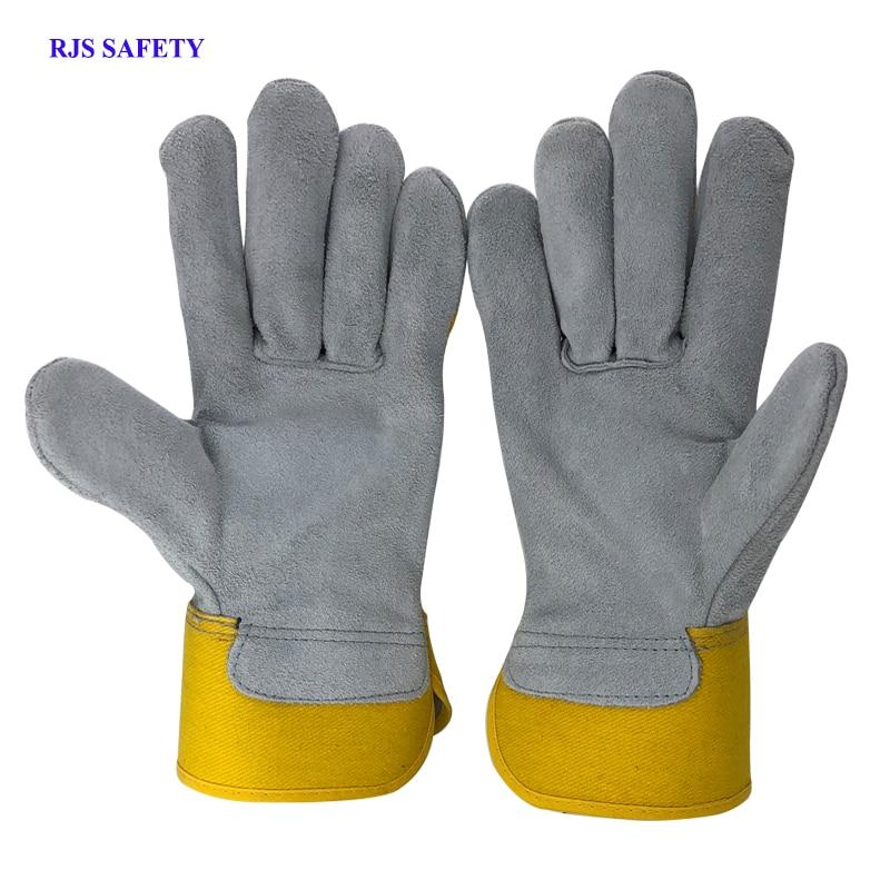 seguranca do trabalho luvas de couro dos homens do couro luvas de trabalho de soldagem rjs