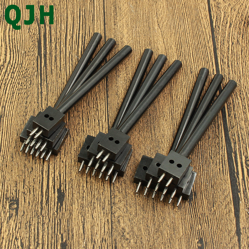 DIY Spacing Round Prong Leather Hole Punch Leather Craft Tool 6mm 4 holes