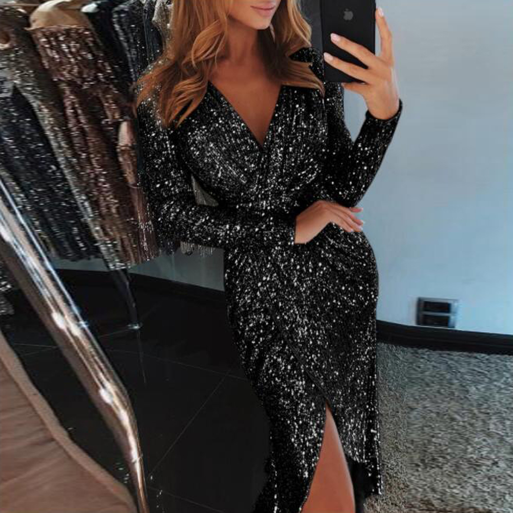 Missord 2019 Women Sexy V Neck Long Sleeve Sequin Dresses Female High Split Solid  Elegant Maxi Dress Vestdios  FT18976