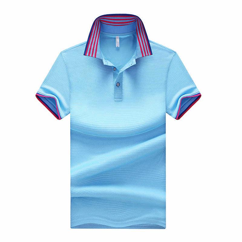 Dropshipping 4 Colors Polyester Polo Shirt Men Short Sleeve Polos Para Hombre Solid Casual Poloshirts Mens