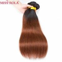 Hoa hậu Rola Tóc Pre-màu Ombre Bó Sợi Tóc Người Tóc Phi-remy Sản Phẩm Brazil Thẳng 3 Bó T1B/30 Màu Vàng Nhạt Màu