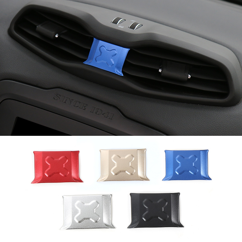 MOPAI New Designs Car Interior Decoration Central Air Vents Cover Aluminium Sticker Fit For Jeep Renegade 2015 Up Car Styling 3pcs oem black piano paint chrome car center console air condition vents for passat b6 b7 cc r36 3ad 819 701 a 3ad 819 702 a