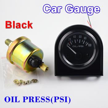 DRAGON GAUGE 2 #8222 52mm licznik samochodowy prasa do oleju miernik pojazdu 0 ~ 100 PSI ciśnienie z czujnikiem czarna powłoka 12V tanie i dobre opinie SINOVCLE 69mm gauge panel Metal 99 g 73mm 2012BB China front of car 40 5mm 2015 Cruze