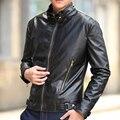 Hot moda magro dos homens camurça couro grosso sobretudo sólidos quente completo manga mandarim Collar Jacket roupas casuais marca encabeça nova