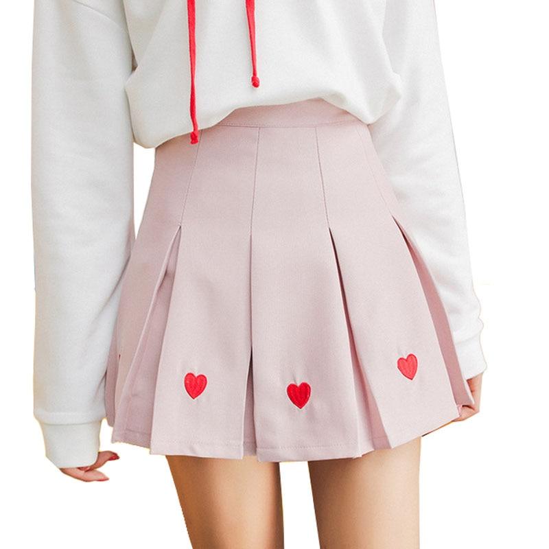 Women Pleated Skirt Lolita Harajuku Kawaii Sweet Embroidery Skirts Mini Cute School Uniforms Saia Faldas Ladies Jupe SK6683