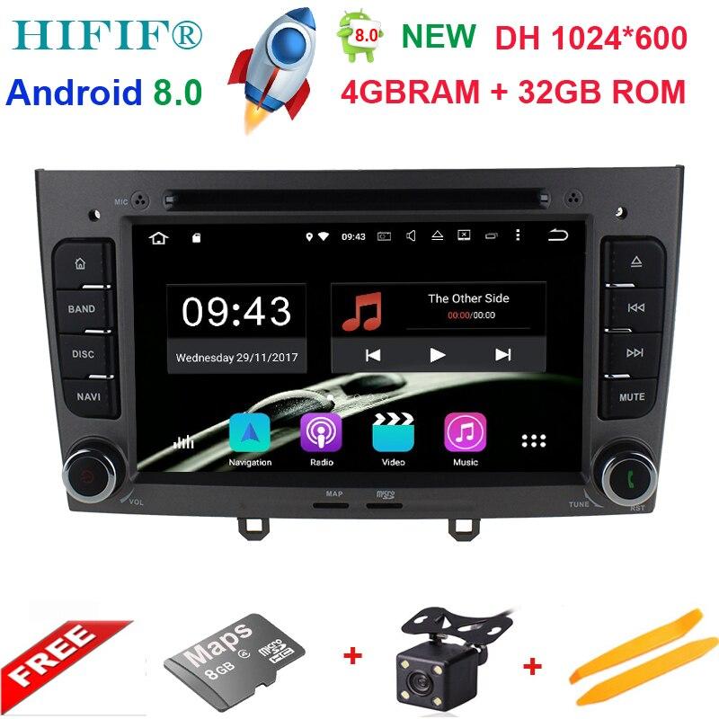 4 GB RAM Octa base Android 8.0 Multimédia De Voiture DVD Navigation Pour peugeot 408/308/308SW Autoradio Stéréo headunit Soutien OBD DAB +