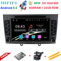 4GB RAM Octa Core Android 8.0 Multimedia Car DVD Navigation For peugeot 408/308/308SW Autoradio Stereo headunit Support OBD DAB+