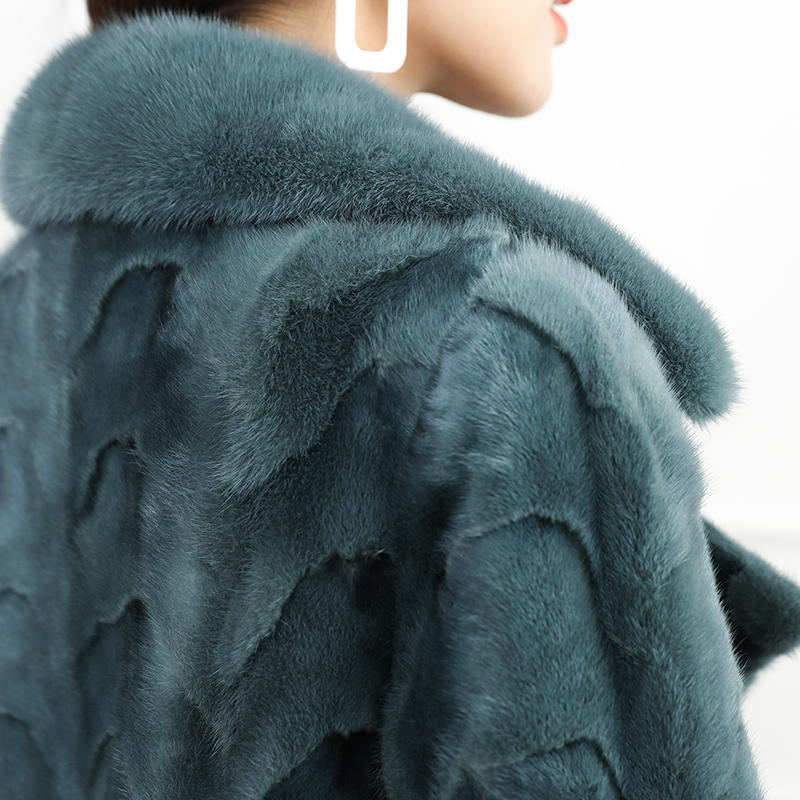Véritable Cuir Réel Fourrure De Femmes Femme Outwear Chaud Vison Naturel Hiver Lake Blue Manteau Épais gvPprg1qW