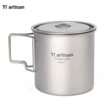 Hot Sell Cheap Tiartisan Coffee Mug 650ml with Cover Lid Portable Ultralight Pure Titanium Mug Cup lid