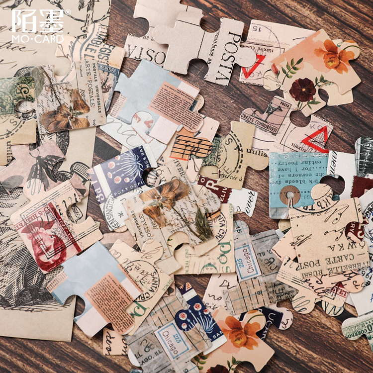46pcs box vintage Retro Jigsaw Cute Boxed Kawaii Stickers Planner Scrapbooking Stationery Japanese Diary School Supply Stickers in Stationery Stickers from Office School Supplies