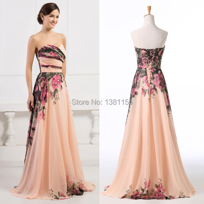 be36efe24c Grace Karin Off Shoulder Sexy Dress A-Line Chiffon Long Evening Dress  Flower Pattern Fashion Women Dress Formal Prom Gown CL7503