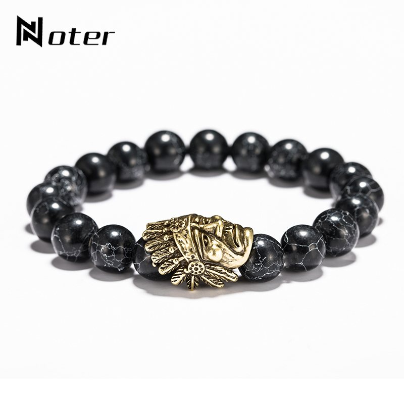 Noter 10 MM Black Natural Stone Beads Bracelet Antique Gold Bronze Color Indian Chief Braclet For Men Biker Jewelry Pulseira