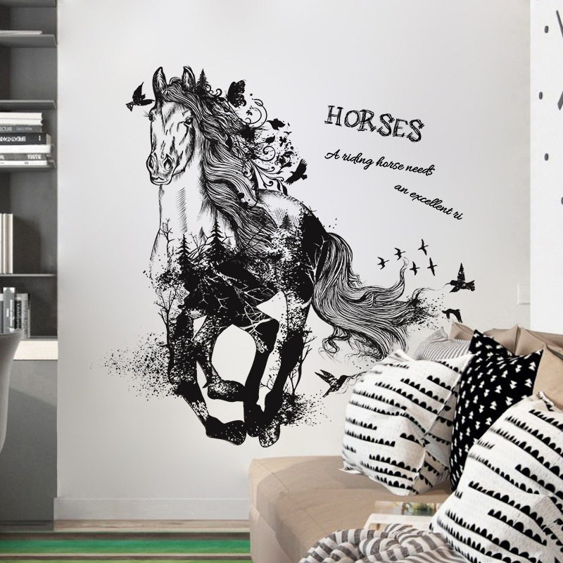 d44eb7ad191 Black Run Of Horse Removable Cartoon Wall Stickers Living Room Sofa  Background Home Decor Sticker Mural-in Wall Stickers from Home   Garden on  ...
