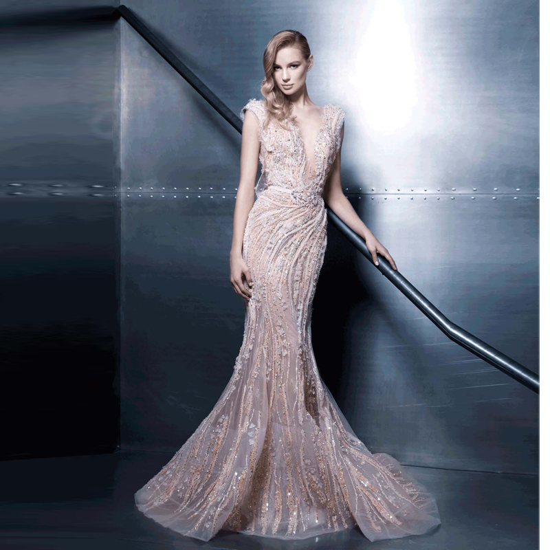 Long Champagne Curved Neckline Cap Sleeve Appliques Beaded Evening ...