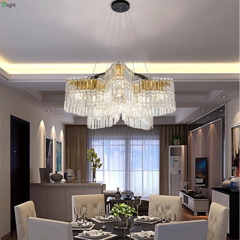 US $599.9 |Modern Lustre Crystal Led Pendant Lights Living Room Black Metal  Led Pendant Lamp Bedroom Hanging Lights Fixture For Dining Room-in Pendant  ...