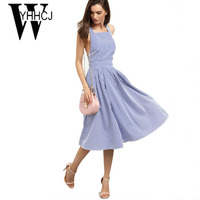 WYHHCJ 2018 Sexy Backless Summer Dress Sleeveless Off Shoulder Striped Women Dress Hot Lace Up Draped