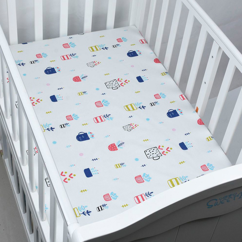 (Fitted sheet 1pcs) Baby bed mattress cover 1pcs 100% cotton baby bed sheet for baby girl boys 130x70cm crib baby fitted sheets