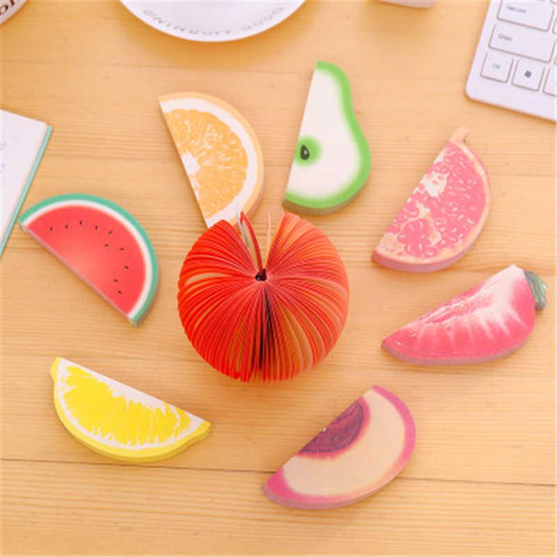 Mignon autocollants créatifs bricolage fruits légumes mémo tampons kawaii note papier papeterie bureau Papelaria fournitures