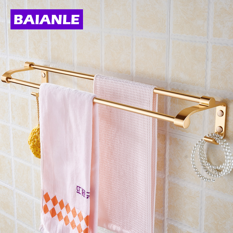 Wall Mounted Towel Bar With Hooks Double Towel Rack Railof Decorative Bathroom Accessories Space Aluminum Wall Shelf