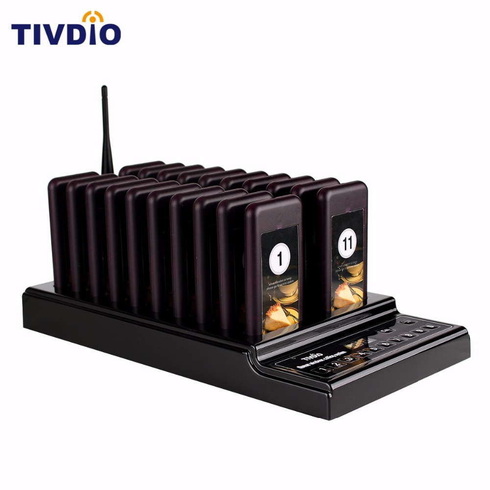 TIVDIO 20 Wireless Coaster Pager Restaurant Paging Queuing System Call Button Pager 999 Channel Restaurants Equipments F9402A 1 transmitter 20 coaster pagers chargeable restaurant pager wireless paging queuing system restaurant equipments f4475