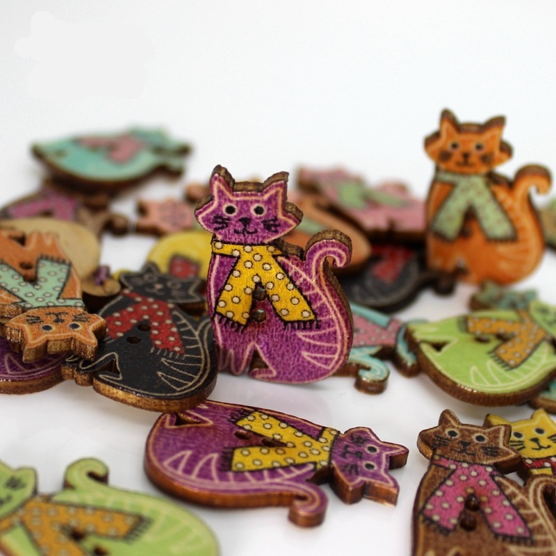 Arts,crafts & Sewing Apprehensive Doreenbeads Bakelite Button 2-holes Button Random Color Painting Cute Cat Pattern Apparel Sewing&fabric 1.9x 3cm,20 Pcs High Quality