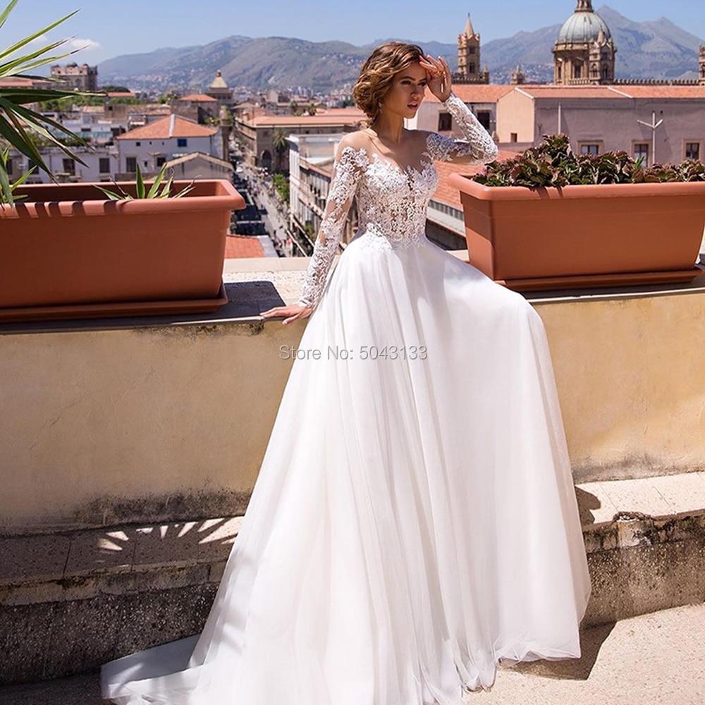 Romantic Lace Appliques Long Sleeves A Line Wedding Dresses 2020 Scoop Neck Floor Length Tulle Wedding Bridal Gown Vestido Noiva