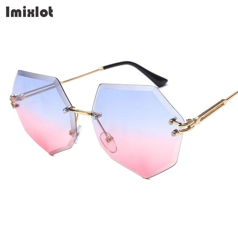 Imixlot Zwei-farbe Objektiv Randlose Sonnenbrille Frauen Marke Designer Übergroßen Sonnenbrille Sonnenbrille Für Frauen Weibliche Shades