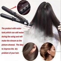 Hair Straightener Ceramic Steam Flat Iron Vapor Plate Wet Dry Led Temperature Control Ferro Hair Iron