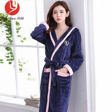 LIN YUN SILK Winter Thick Warm Coral Fleece Sleepwear Robe f208035d2