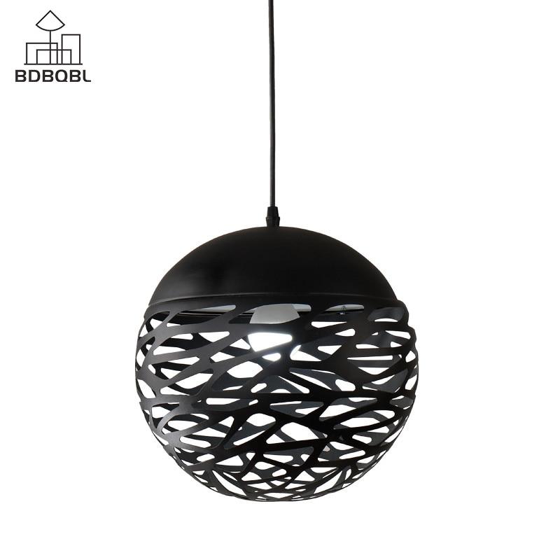 BDBQBL Modern LED Globe Pendant Lights White/Black Painting Metal Pendant Lamp 85-265V E27 Brief Ball Hanging Lamp nowodvorski ball black white iii zwis