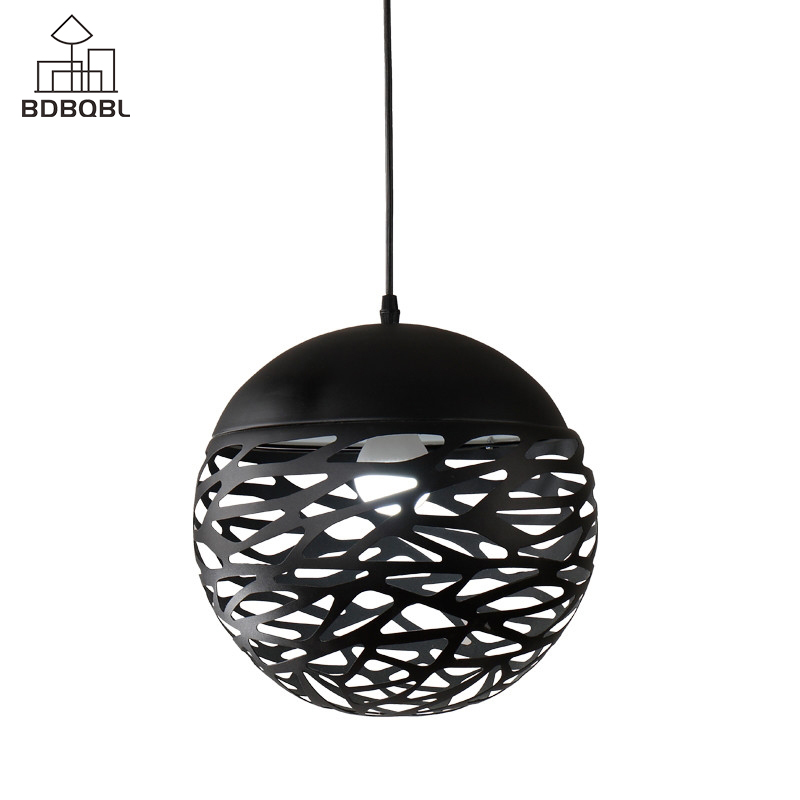 BDBQBL Modern LED Globe Pendant Lights White/Black Painting Metal Pendant Lamp 85-265V E27 Brief Ball Hanging Lamp 2015 brief modern fashion circle pendant lights voltage 220 240v