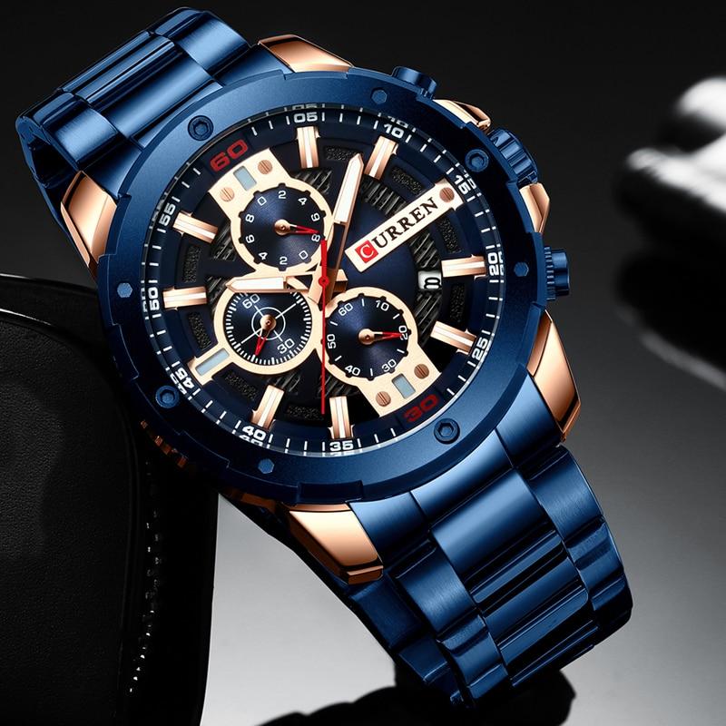 Curren Luxury Brand Men's Business Casual Watch Blue Gold Color Calendar Waterproof Quartz Men's Watch Stainless Steel Band