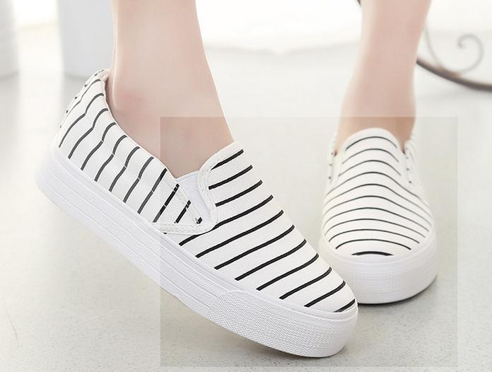 Women Shoes stripe colours without lace