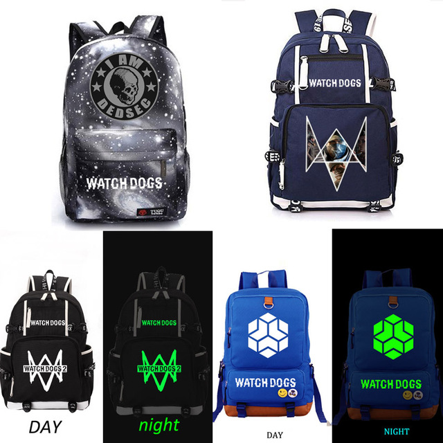 84142d97cf Watch Dogs school bag game Reflective backpack student school bag Notebook  backpack Daily backpack