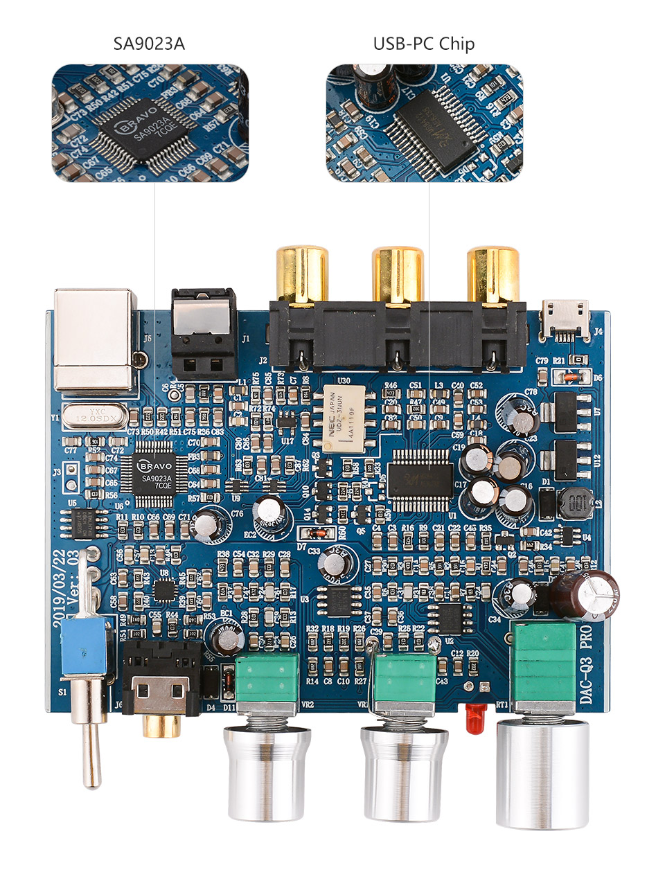 Aiyima mini decodificador de áudio de fibra