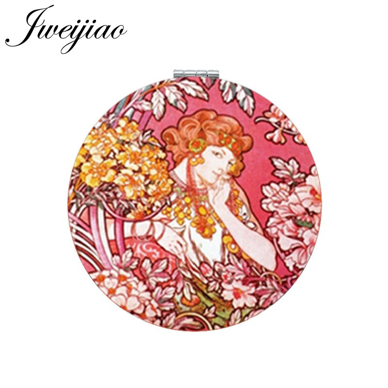 Jweijiao Flower Lady Art Photo Printed Pu Leather Makeup Mirror Folding Round Mini Pocket 1x/2x Magnifying Mirror Factory Price