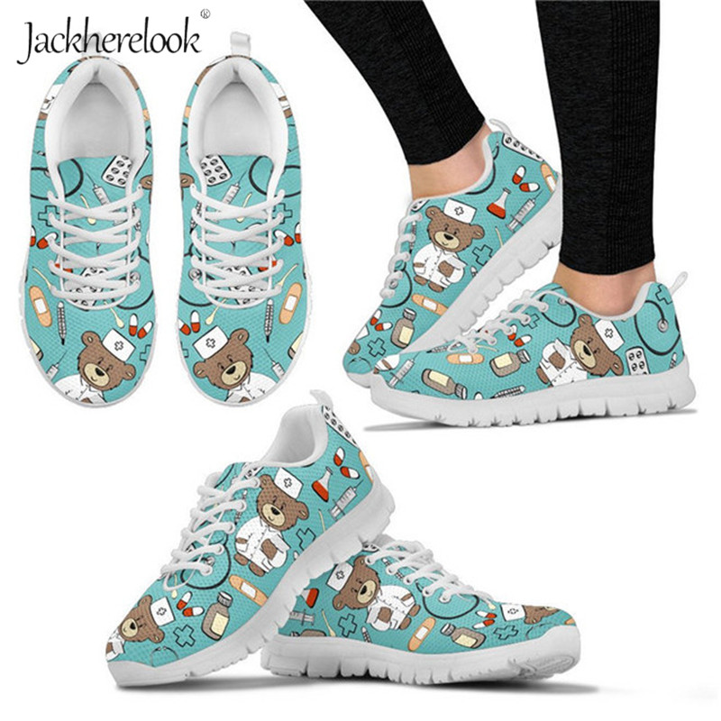 Jackherelook Cute Cartoon Pediatrician Nurse Bear Print Woman Flats Shoes Breathable Summer Lightweight Sneakers Female Footwear image