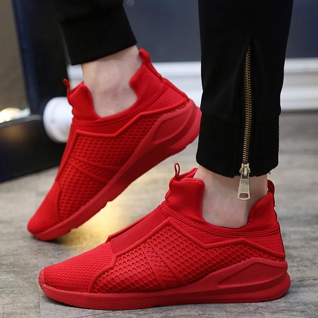 Los Hombres de lujo Zapatos de 2016 Nuevos hombres de la Moda Transpirable Zapatilla de deporte Roja Prevenir Resbaladizas Zapatos de Los Planos Ocasionales zapatos de Mujer Chaussure Homme