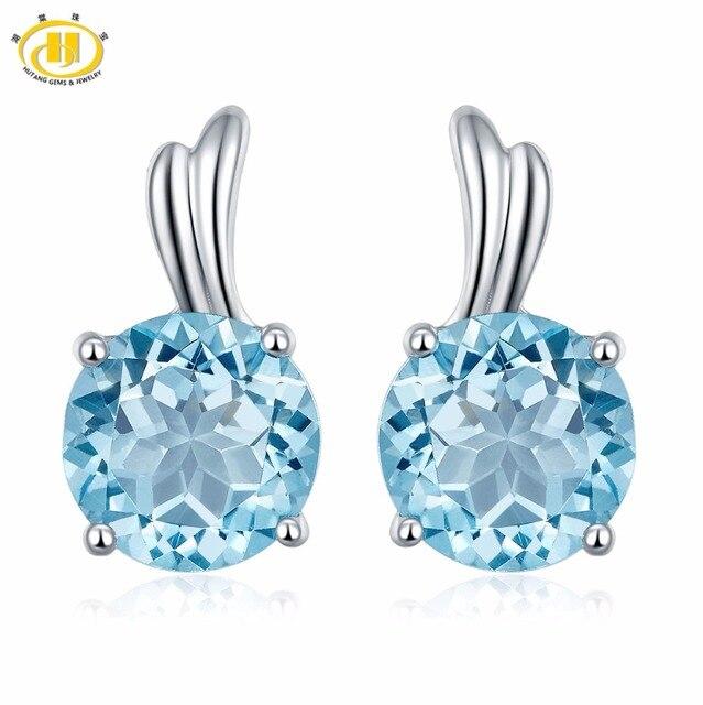 Hutang Gems Jewelry Round 6 0mm Genuine Blue Topaz Earrings Women 925 Sterling Silver Stud