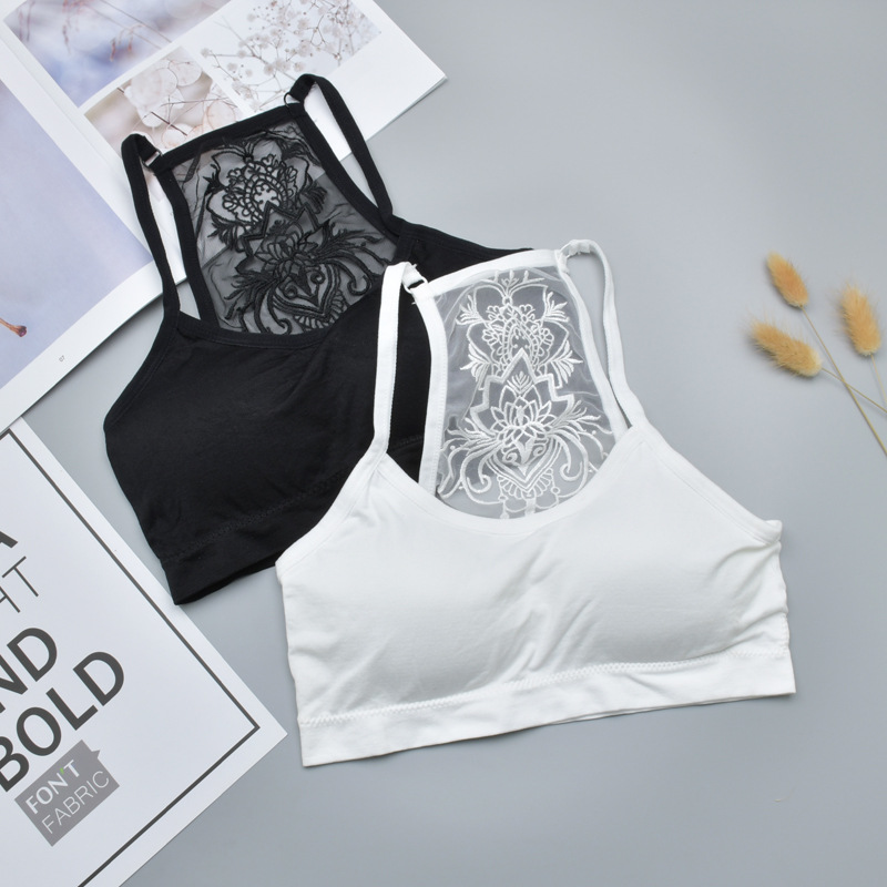 Cropped Ladies Strapless Tops Printed Lace Ladies Inner Underwear Sexy Lntimates Solid Black White Tube Top