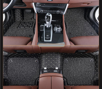 Auto Floor Mats For BMW E82 COUPE 1M 120i 2007-2014 Foot Carpets Step Mat High Quality Embroidery Leather Wire coil 2 Layer