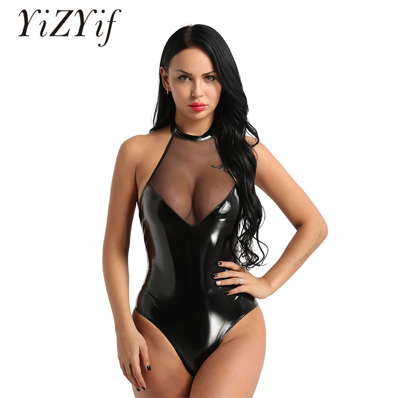 Schwimmen Sport & Unterhaltung Frauen Geöffnete Gabelung Büste Ein Stück Badeanzug Frauen Zipper Wetlook Leder Body Sexy Hot Erotic Teddy Plus Größe Körper Anzug
