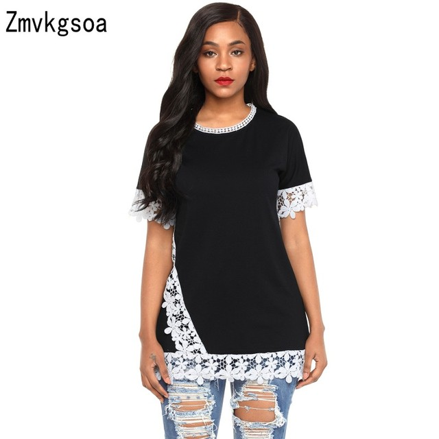 195d1157b9234 Zmvkgsoa Womens Tops and Blouses Black Delicate Lace Trim Olive Short  Sleeve Blouse Top 2018 New Fashion Girls Blusas V2508170