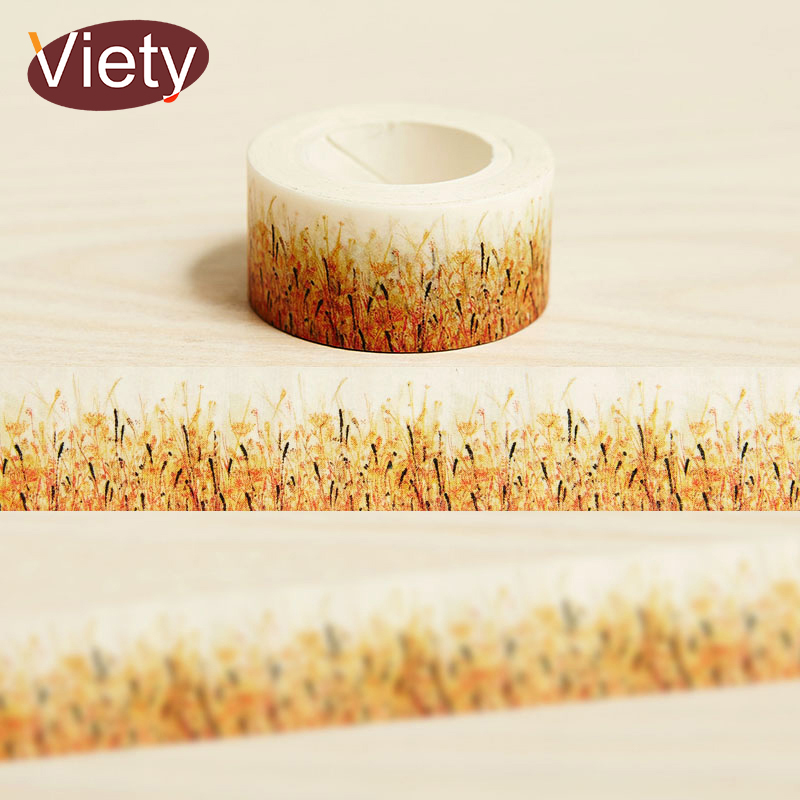 2cm*10m Autumn Grass washi tape DIY decorative scrapbook planner masking tape adhesive tape label sticker stationery 3cm 7m raining butterfly washi tape diy decorative scrapbook planner masking tape office adhesive tape stationery