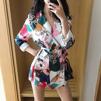2018 Vintage Floral Print Blazer Women Notched Collar Long Sleeve Sashes jackets Coat Casual Outerwear Casaco feminine Tops