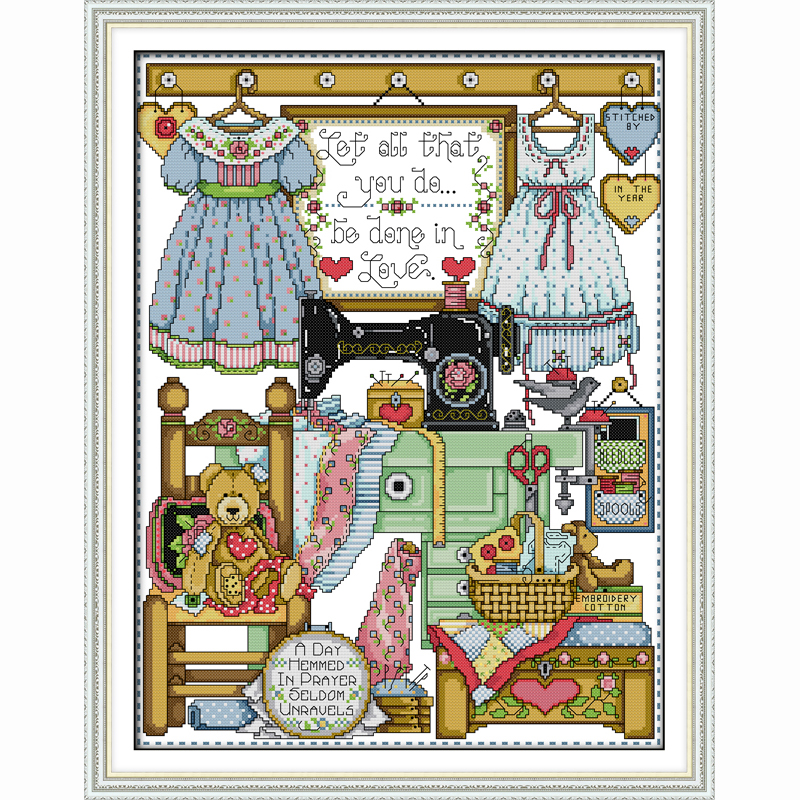 Cross-stitch Kind-Hearted Tailor Shop Cartoon Counted Cross Stitch Chinese Cross Stitch Sets Diy Cross Stitch Kits For Embroidery Home Decor Needlework